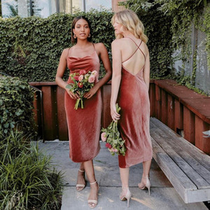 Classy Velvet Country Backless Bridesmaid Dresses Spaghetti Straps Cheap Wedding Guest Dress Tea Length Sheath Maid Of Honor Gowns P14