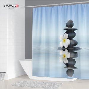 Yiming 3D Stone Running Water Water Buddha impermeabile Stampo impermeabile Lavabile ZEN Doccia Tenda Doccia LJ201130