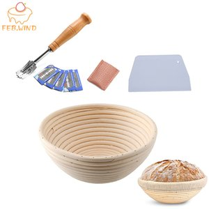Beste Bäckerei Proofing Basket Banneton Proofing Basket Set mit Brot Lame Werkzeuge rund / oval Sauerteig Proving Baskets 704 201023