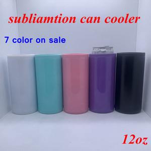 DIY Calor Sublimação pode refrigerador 12 onças Magro reta pode Insulator em branco dupla em aço inoxidável parede magro Vacuum refrigerador DIY presente YFA2636