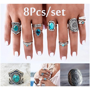 Cr Jewelry Bohemian Retro Rings Women Antique Carved Gemstone 8 Piece Set Of Joint Rings Shipping Wdjzh