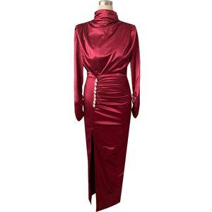 Women Sexy Splits Long Sleeve Maxi Dress High Neck Ruched Thigh Slit Evening Gown Dress Satin Evening Party Dresses 200929