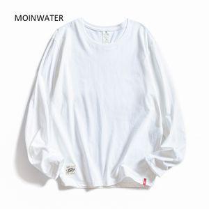 MOINWATER o Las mujeres con cuello de manga larga camisetas de algodón blanco Señora Tops Mujer suave informal camisetas de las mujeres Negro Camiseta MLT1901 201012
