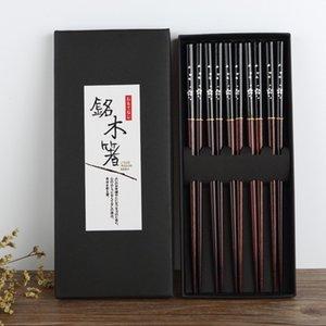 Essstäbchen 5 Paar Japanisch Koreanisch Nahrungsmittel Holz Bambus Rot Schwarz Griff Design Paar Wiederverwendbarem Essstäbchen Set Haghack mit Fall T200227