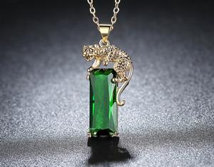 Зеленый Циркон ожерелье для женщин золотого цвета Прохладных животных Leopard Подвеска Ожерелье Золотого леопард