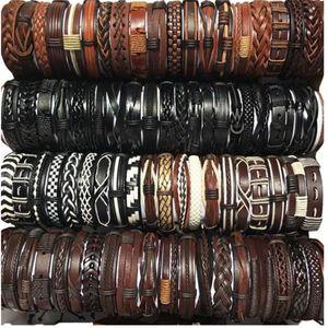 Hot Sale 100pcs Lots Vintage Mix Styles Leather Cuff Bracelets For Men Women Wrist Jewelry Size adjustable . .