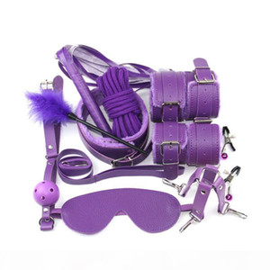 qualityHandcuffs for sex 10 Pcs set PU Leather BDSM Sex Bondage Set Hand Cuffs Footcuff Whip Rope Blindfold Erotic Sex Toys