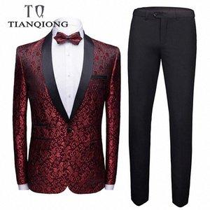 Tian Qiong Mens Casamento Ternos 2019 Slim Fit Homens Ternos Florais Recente Casaco Pant Projetos Traje Homme Mariage Fase Masculino Vestuário # PO3G