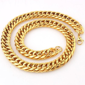 16mm Puunk 316L Stainless Steel Curb Cuban Link Chain Necklace & Bracelet Jewelry Gift 7-40inch1