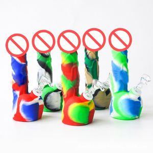 8 Zoll der männliche Penis-Silikon-Rohr-Wasserbong mit der Dazemet-Freigabe für das Rauchen von FDA-Silikon-DAB-Righen unzerbrechliche Öl-Rig-Bongs