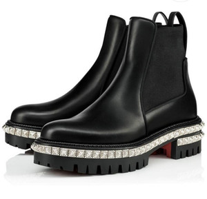 Fashion Women Red Bottom Boots Black rhinestones Leather Communa Ankle Boots For Women Flat Party Dress Winter Luxury Designer Shoes