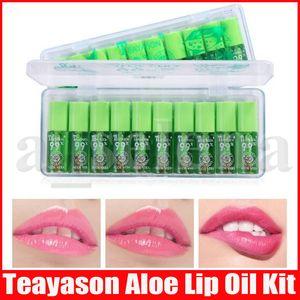 Teayason Aloe Vera Мини Блеск для губ Температура Изменение цвета Продолжительный 10шт Lip Oil Lipgloss Kit Оттенок Primer Увлажняющий Косметика по уходу / SE