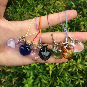 Amor Heart Shaped Mini frascos de vidro com presentes Rolhas fecho da lagosta Chaveiros DIY pequenos frascos Mix 7 Cores