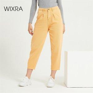 Wixra Womens Demin Calças Candy Color Streetwear Casual Cintura Alta Calças de brim soltas Botão Senhoras Primavera Outono Calças