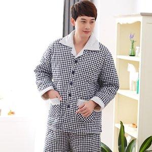 Winter Quilted Men Night Clothing Thicken Warm Pajamas Three-Layers Cotton-padded Jacket Pyjamas Plaid Print Pajamas Men Suit3XL