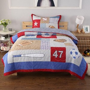 Kids Baseball Sports Embroidered Quilt Set 2pcs Quilted Bedspread Bed Covers Cotton Quilts Coverlet Cover Twin Size Boys Bedding