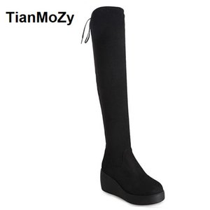 Women Boots Thigh High Boots Platform Suede Back Tie Heel Dress Heel Over-The-Knee Boot Long Plush Wedge Slim High Snow Booties