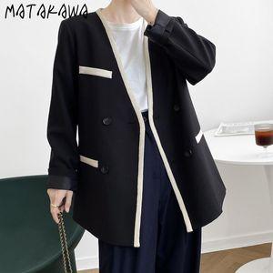 Matakawa Soltera Sitle Sith Blazer 2021 Otoño Nueva Versión coreana Floja Contraste Blazers Para Mujer