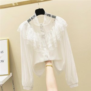 Fashion Long Sleeve Lace Tops Elegant Female Lace Stitching Casual Blouse 2020 New Korean Women Shirt White Black Blusas