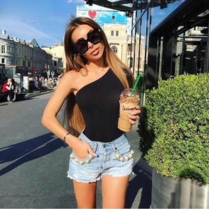Summer Beach Wear Black Women Bodysuit One Shoulder Rompers Long Sleeve Off The Shoulder Bodysuits Overalls For Women