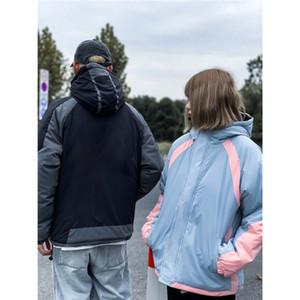 bir erkek ceketi Pamuk dolgulu Casual Orta Stil Kapşonlu Giyim Kontrast Renk Erkek Tasarımcı Pamuk yastıklı Giyim Moda Fermuar Coats womens