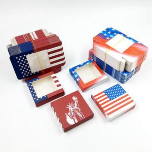 3D Vizon Kirpik Paketi Kutuları Amerikan Bayrağı Baskılı Yanlış Kirpik Kare Ambalaj Boş Kirpik Kutusu Kasa Lashes Kutusu 10styles
