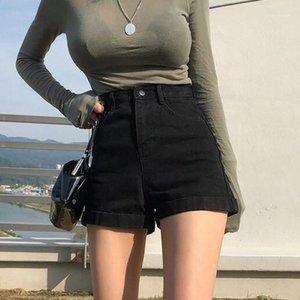 Женские джинсы черные высокие талии джинсовые шорты женские Летние тонкие 2021 посмотрите и свободные брюки для ног мода