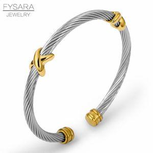Dei braccialetti del partito Donne Per Cuff Fysara Lady braccialetto della traversa dell'acciaio inossidabile di fascino Stripe Cavo Filo Bracciale Uomo bbyOfR bdehome