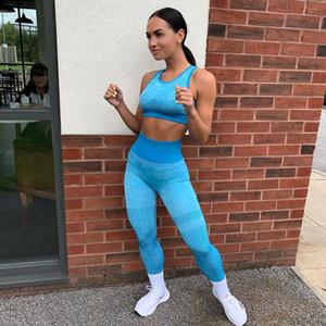 2021 Women Seamless Yoga Set Gym Clothing Fitness High Waist Leggings+Cropped Bra Sport Suit Women Sportswear Elastic Wicking Suit S M L