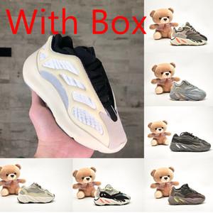 Caja de Kanye West de los zapatos corrientes 700 Wave Runner muchachas de los cabritos del deporte zapatillas de deporte corredor de la onda inercia Tefra imán Utilidad Negro malva Des Chaussures