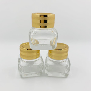 Chiaro / ambra vasetti cosmetici 15g vasetti di vetro con coperchi di plastica oro rivestimento interno in PP per viso mano crema labbro lozioni balsamo