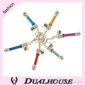 10pcs lot colorful key chain metal smoking pipes Jamaica Reggae mini portable aliminum mini tobacco pipes for herb