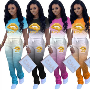 Women Sport Two Piece Set Love Lip Gradient T shirt Tops Stacked Bell Bottom Flare Jogger Suit Tracksuit Matching Set