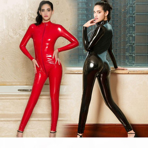 Sexy Lady Latex bright Bodysuit Women Open Crotch Zipper Wetlook jumpsuit Night club party bar Dance Leather catsuit Lingerie