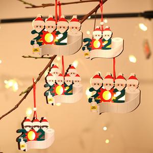 2020 Quarantine ornamento natalizio ornamento incandescente albero di natale decorazione in legno fortunato famiglia da 1 a 5 Personalizza ciondolo natale