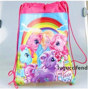 Wholesale- Drawstring Bag Mochila Bags non-woven string shoe School bags For Girls Cartoon Kids Backpack beach Hiking Travel birthday gifts