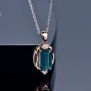 New exquisite rectangular fashion simulation blue tourmaline color treasure pendant women's 18k rose gold necklace jewelry
