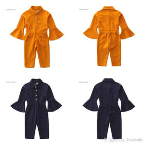 Kids Girls Solid Jumpsuits Toddler Baby Flare Sleeve Lapel Romper Casual Clothes Button Ruffle Onesies Teens Leisure Outfits