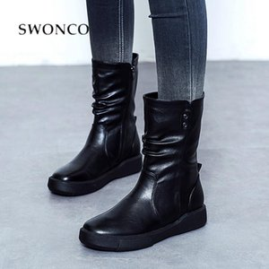 SWONCO Waterproof Snow Boots Women Black Casual Shoes Fur 2020 New Winter Female Mid Calf Tall Martin Boots For Women Vintage