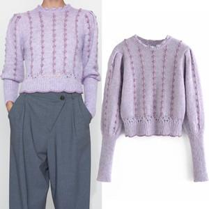 Pseewe za outono inverno mulher suéteres moda roxo rosca metálica longa manga colhida colhida camisola de malha mulheres pulôveres w1217