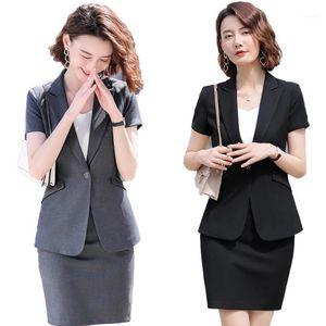 Work Dresses 2021 Female Elegant Formal Office Skirt Suits For Women Business Ladies Grey Blazer And Jacket Sets Summer1