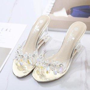 Yeeloca Kadın Terlik Bayan Ayakkabı Slaytlar Ultra-Yüksek Topuklu 8.5 cm Çiçek Takozlar Kristal Şeffaf Düğün Sandalet Boyutu 34-43 T200411