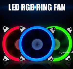 4 colores Computer ventilador de 120mm LED 120 MM Anillo Fan Gids Licht Blauw Rood Groen Promoción