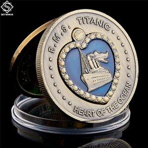 1912 RMS Titanic Coração do Oceano Coin Medalha de Bronze esmalte azul do esmalte Grande navio coleção de moeda