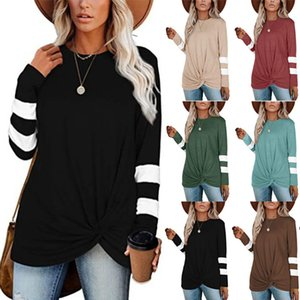 2020 latest trend fashion round neck long sleeve stitching casual twist T-shirt top womens clothing