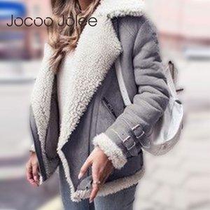 Jocoo Jolee Faux Shearling Sheepskin Manteaux Femmes Vestes en daim épais automne hiver Lambs laine courte moto Manteaux coupe-vent 201014