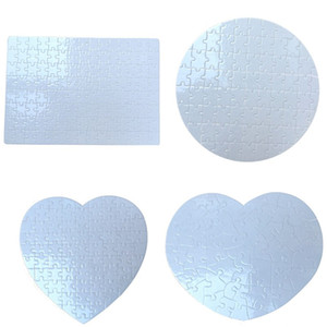 Sublimation Blank Puzzle Heart Round A4 Blank Jigsaw DIY Craft Heat Transfer Printing Regular Irregular Shape Puzzles