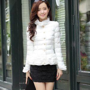 Spring women coat winter jacket short Ruffles sweet white down jacket parka women jackets Women's clothing autumn parkas 5 color
