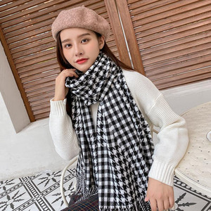 Scarves Women's Scarf Winter 2021, Imitation Cashmere Warm,tassel Shawl Thick Warm ,houndstooth For Ladies Stole Tippet