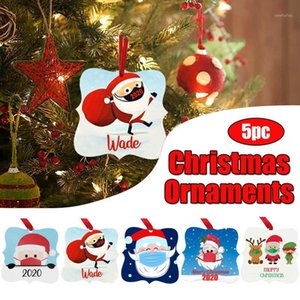 5 / 10шт персонализированные пережил семьи рождественские украшения носить маску Санта лось снеговика кулон елочные украшения FN501